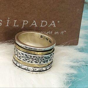 R2293 Silpada Sterling Silver Twirl Band Ring Sz 6